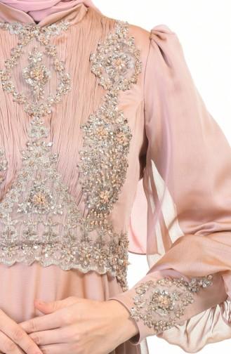 Perlen Detaillertes Abendkleid 6166-05 Puder Rosa 6166-05
