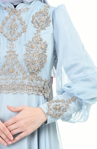 فستان سهرة مطرز بالخرز أخضر مائي 6166-06