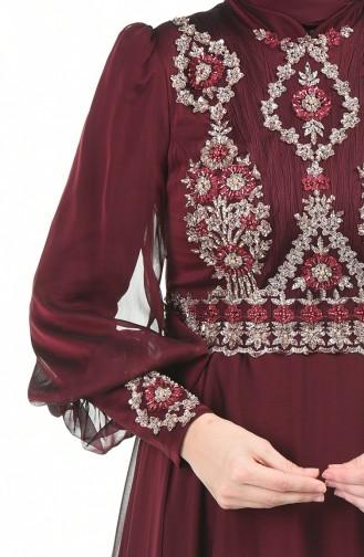 Perlen Detaillertes Abendkleid 6166-07 Weinrot 6166-07