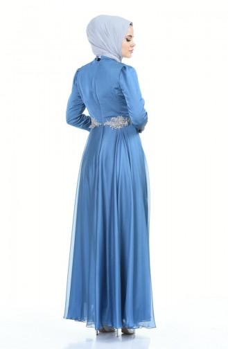 Beaded Embroidered Evening Dress Indigo 6163-07