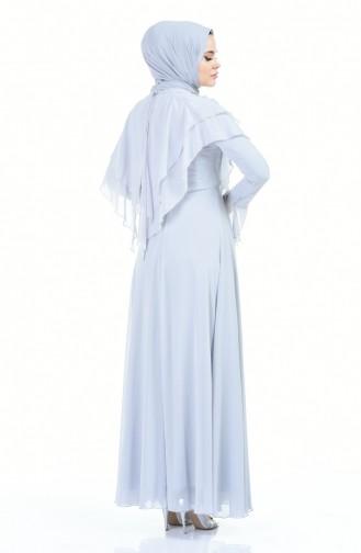 فستان سهرة مزين باللؤلؤ رمادي 6170-04