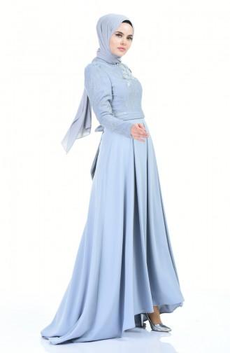 Flower Appliqued Evening Dress Bebe Blue 7027-02