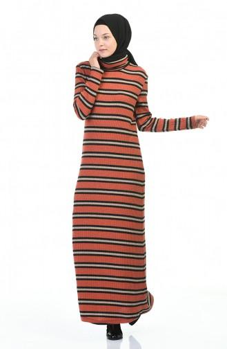 Robe Hijab Couleur brique 0332-02