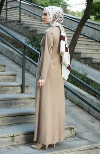 Robe Plissée avec Poches 8058-04 Vison 8058-04