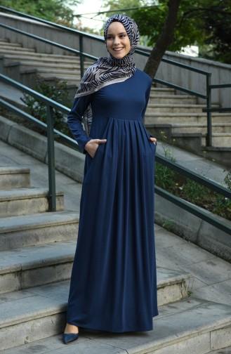 فستان أزرق كحلي 8058-05