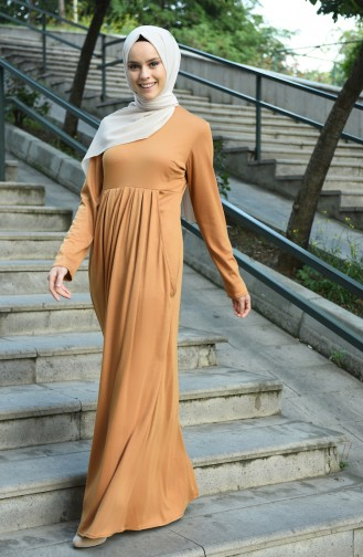 فستان أصفر خردل 8058-08