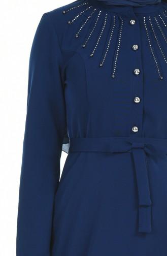 Taş Baskılı Kuşaklı Elbise 9612-03 Lacivert