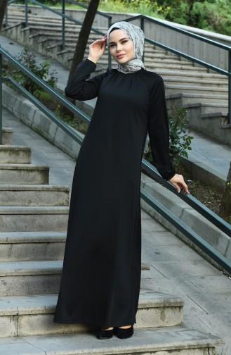Tesettür Elbise 1027-01 Siyah
