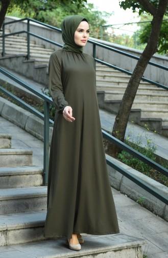 Tesettür Elbise 1027-03 Haki 1027-03