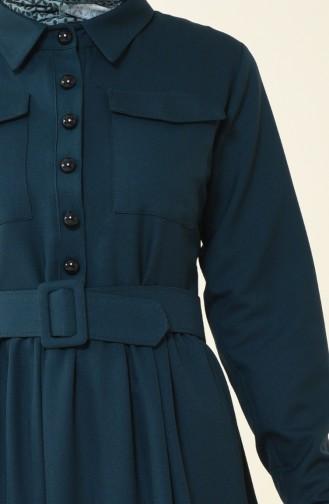Beli Büzgülü Cepli Elbise 4033-01 Zümrüt Yeşili