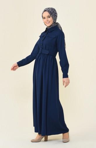 Beli Büzgülü Cepli Elbise 4033-04 Lacivert