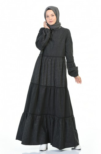 Robe Froncée à Carreaux 3106-02 Noir 3106-02