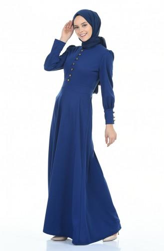 Düğme Detaylı Elbise 6780-02 Saks