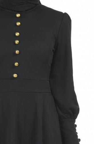 Düğme Detaylı Elbise 6780-03 Siyah