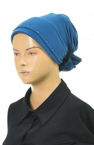 Drei Perlen bereite Turban-Bonnet 1053-01 Petroleumblau 1053-01