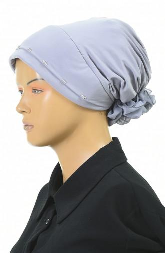Drei Perlen bereite Turban-Bonnet  1053-03 Grau 1053-03