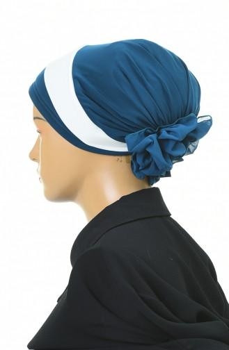 Doppelte Farbe bereite Turban-Bonnet  1054-07 Petroleum 1054-07