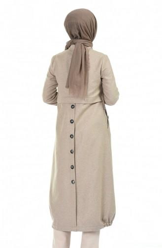 معطف طويل بني مائل للرمادي 1041-02