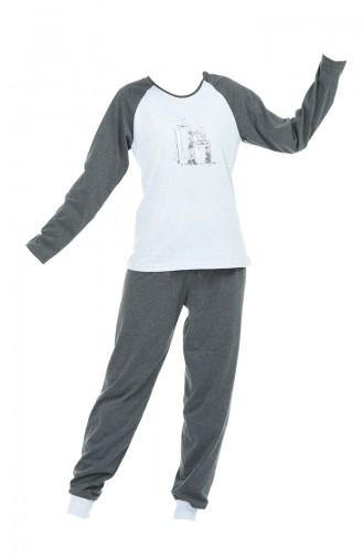 Bayan Uzun Kollu Pijama Takımı 709005-01 Gri Füme 709005-01