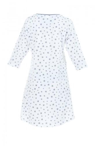 Damen Nachthemd 710013-01 Weiss Rauchgrau 710013-01