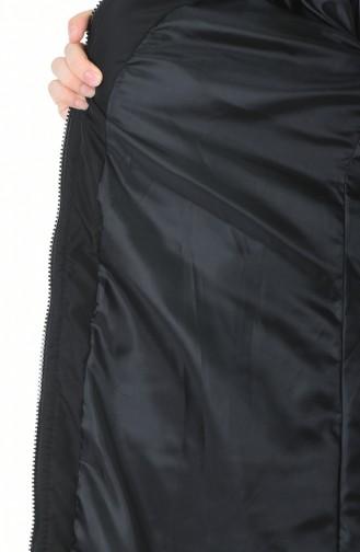 معطف بقبعة فرو مبطن أسود 5909-01