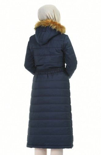 Fur Hooded Quilted Coat Navy Blue 5909-02