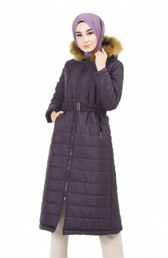 Fur Hooded Quilted Coat Purple 5909-03
