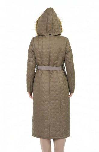 معطف مبطن مقاس كبير بلون البسكوت 9010A-04