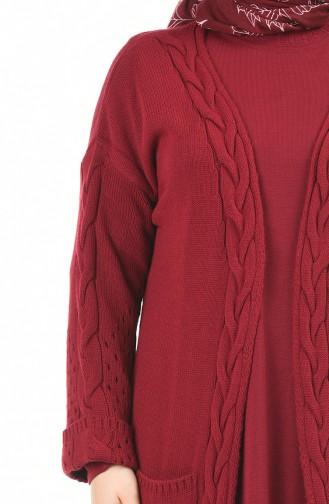 طقم تريكو فستان وكادريجان مقاس كبير أحمر كلاريت 8072-08