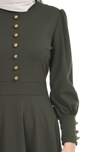 Düğme Detaylı Elbise 6780-04 Haki