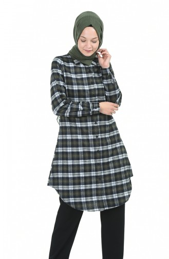 Plaid Tunic Khaki 6388-03
