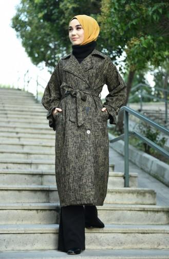 معطف منقوش خردلي 8155-05
