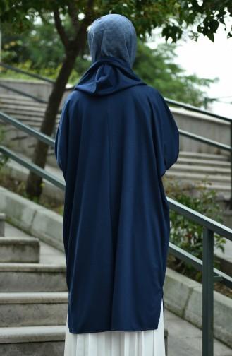 معطف موسمي بأكمام خفاش كحلي 8035-07