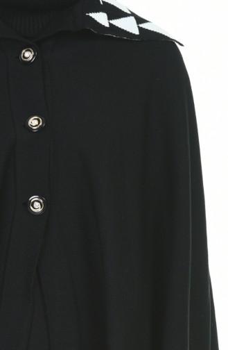 Düğmeli Triko Panço 1004F-02 Siyah Beyaz 1004F-02