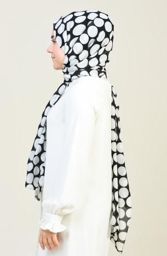 Puantiye Desenli Multi Şifon Şal 26020-01 Siyah Beyaz 26020-01