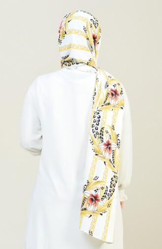شال حرير كريب منقوش على شكل أزهار أبيض وأصفر 26022-01