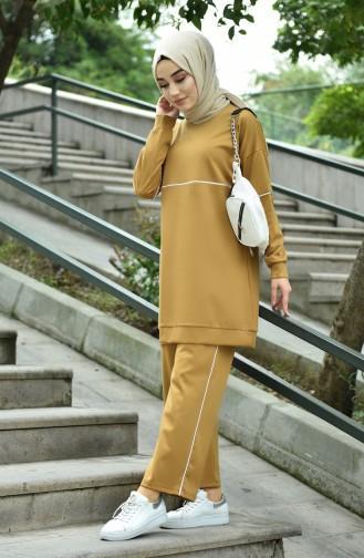 Biyeli Tunik Pantolon İkili Takım 8054-03 Hardal