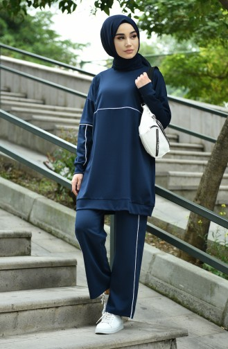 Tunic Trousers Double Set Navy Blue 8054-06
