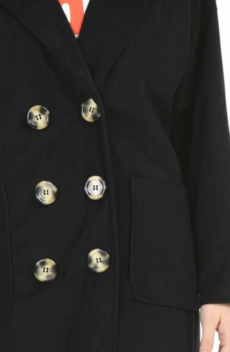 Kadife Düğmeli Kap 1025-03 Siyah