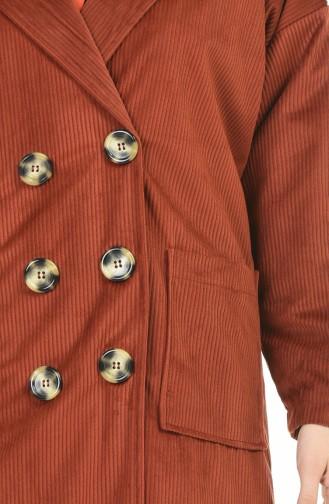 Kadife Düğmeli Kap 1025-04 Kiremit