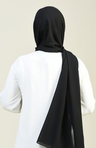 Düz Krinkıl Krep Şal 13127-17 Siyah