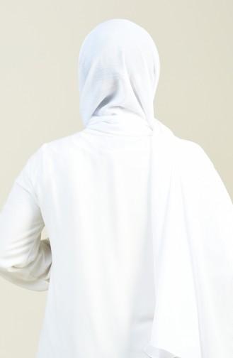 شال كريب تجعيدات بسيطة أبيض 13127-23