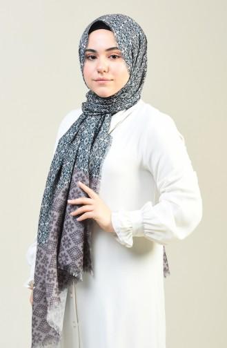 شال قطني منقوش بني مائل للرمادي 13130-03