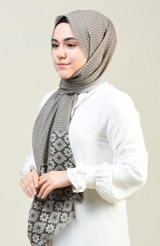 Patterned Cotton Shawl Khaki 13131-03
