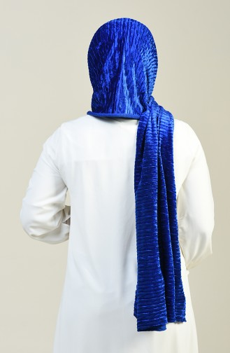 Châle Velours a Rayures 1056-03 Bleu Roi 1056-03