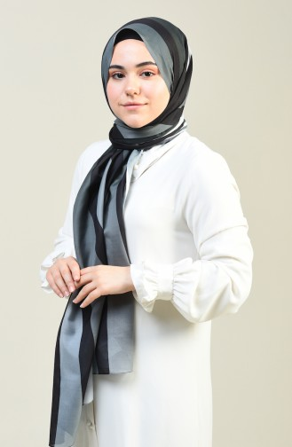 Desenli Pamuk Şal 95303-06 Gri 95303-06