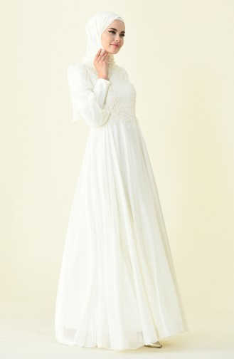 Ecru Islamic Clothing Evening Dress 6166B-01