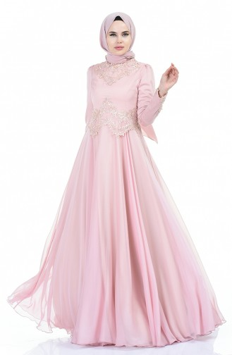 فستان سهرة مزين بالدانتيل واللؤلؤ باودر 6169-01