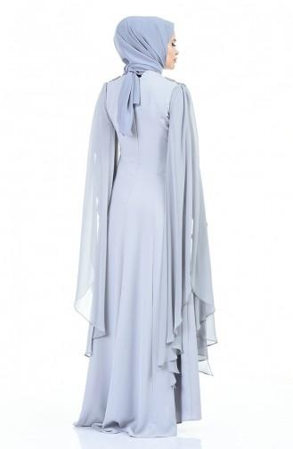 Lace Evening Dress Gray 3041-02