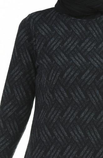 فستان شتوي منقوش أسود 8841-01